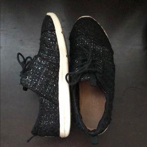 Black glittered textured Toms